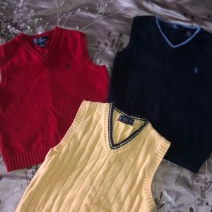 (3) Boys Polo V-neck sweaters size 6